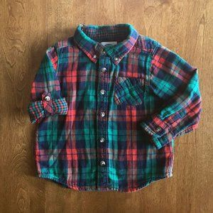 Old Navy roll-sleeve plaid shirt 3T